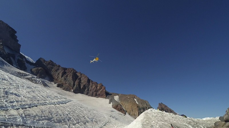 Helicopter flying over Camp Muir